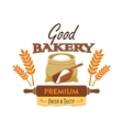 Bakery bread emblem with flour and wheat element vector image