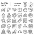 bakery line icon set shop signs collection