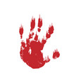 bloody hand print isolated white background vector image vector image