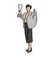 business man holding trophy with thumb up vector image vector image