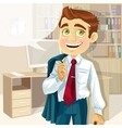 Business man in office with speech bubble gonna go vector image vector image