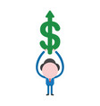 businessman character holding up dollar arrow vector image vector image