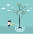 businessman watering money tree business success vector image