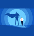 businessman with superhero shadow successful and vector image