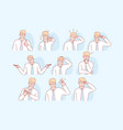 businessmans gestures and facial expresion set vector image