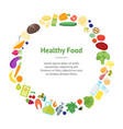 cartoon color healthy food banner card circle vector image vector image
