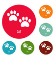 cat step icons circle set vector image vector image
