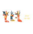 christmas greeting banner with socks decorations vector image vector image