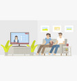 couple watching news in living room vector image