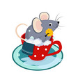 cute cartoon mouse in the bath of cup vector image