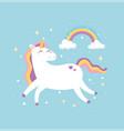 cute magical unicorn dream fantasy rainbow stars vector image vector image