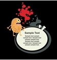 Cute monster and banner with bone vector image vector image