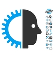 Cyborg Head Icon With Copter Tools Bonus vector image vector image