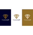 diamond law logo design mono line vector image
