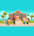 disabled kids at school yard greeting each other vector image