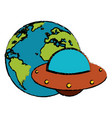 earth with ufo invasion design vector image vector image