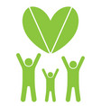 eco family and heart vector image vector image