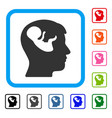 embryo mind head framed icon vector image vector image