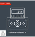 financial calculate icon thin vector image