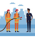 firefighters at city vector image vector image