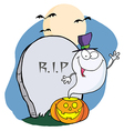 Ghost Waving From Pumpkin Near Tombstone vector image vector image
