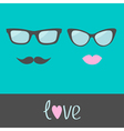 Glasses with lips and moustache Flat design vector image vector image