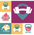 gym and fitness club or workout sport center logo vector image vector image