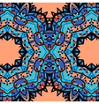 Half-full mandala in blue color over orange vector image