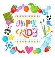 happy kids logo kindergaten or school for cheerful vector image