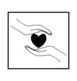 heart on palms on white background in square vector image