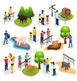 isometric zoo elements collection vector image vector image