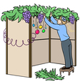 jewish guy builds sukkah for sukkot vector image