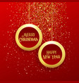 luxury hanging christmas balls frame with golden vector image vector image