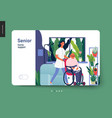 medical insurance template - senior home support vector image vector image