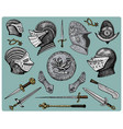 Medieval symbols helmet and gloves shield with