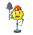 miner road traffic sign on the cartoon vector image