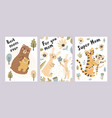 mothers day cards collection adorable postcards vector image vector image