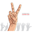 Numbers hand signs set number two detailed vector image vector image