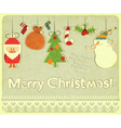 Old Christmas postcard vector image