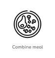 outline combine meal icon isolated black simple vector image vector image