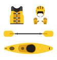 rafting and kayaking icons collection rafting vector image