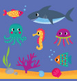 sea life set - fishes shark octopus vector image