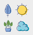 set line flat icons design vector image vector image