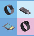 set smartwatch and usb technologies services vector image vector image