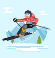 skier riding high speed mountain winter mountains vector image