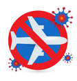 stop flights icon prohibition flights on an vector image