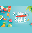 summer sale with decoration origami on blue sky vector image vector image