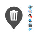 trash can marker icon with free bonus vector image vector image