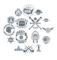 usa logo vintage icons set simple style vector image