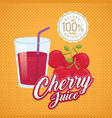 vintage fresh cherry juice vector image vector image